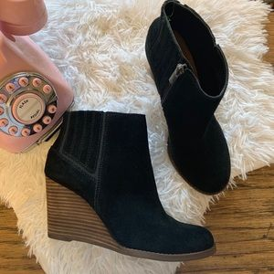 "Lucky brand suede ""yanati"" wedges booties"